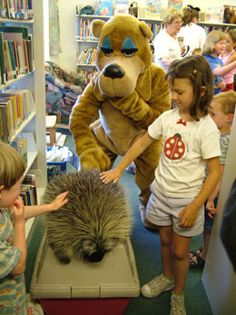 petting Marvin the porcupine